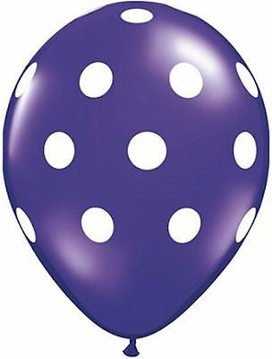 Qualatex Big Polka Dot Crystal Purple Latex Balloons