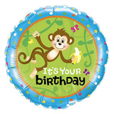 Jungle Animals Monkey, Zebra, Lion, Giraffe, & Tiger Happy Birthday Balloon Bouquet