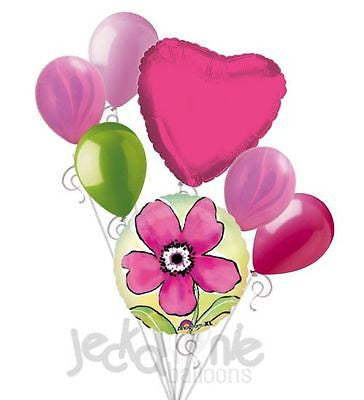 Painted Pink Flower Balloon Bouquet