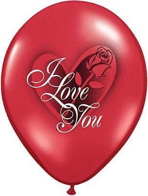 Qualatex I Love You Red Roses Latex Balloons