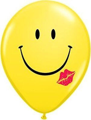 Qalatex Yellow Smiley Face Kiss Latex Balloons