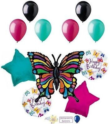 Radiant Prismatic Butterfly Happy Birthday Balloon Bouquet