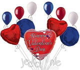 Nautical Stripes Happy Valentines Day Balloon Bouquet