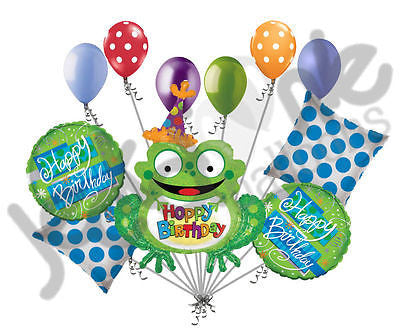 Hoppy Birthday Holographic Frog Balloon Bouquet