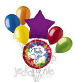 Thank You Colorful Star Burst Balloon Bouquet