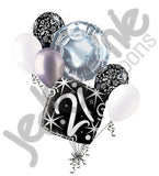 Elegant Happy 21st Birthday Sparkles Balloon Bouquet