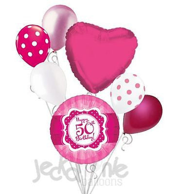 Hot Pink & Polka Dots Happy 50th Birthday Balloon Bouquet