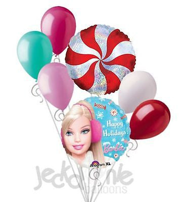 Winter Barbie Happy Holidays Balloon Bouquet