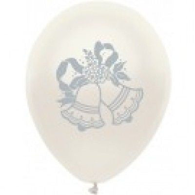 Silver Wedding Bells on White Latex Balloons