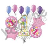 Pink 1st Happy Birthday Balloon Bouquet