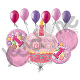 Pink Cupcake 1st Birthday Girl Balloon Bouquet