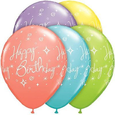 Qualatex Colorful Elegant Happy Birthday Latex Balloons