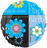 Happy Birthday Turquoise Flowers Balloon Bouquet