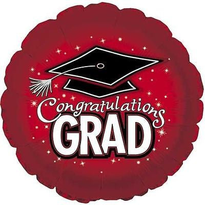 Red Congratulations Grad Round Balloon