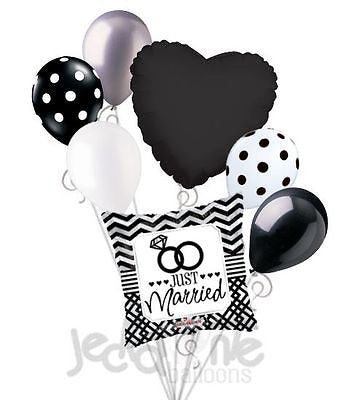 Just Married Chevron & Rings Balloon Bouquet
