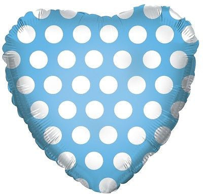 Light Blue Polka Dot Heart Decorator Balloon