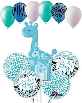 Sweet Safari Baby Boy Giraffe Balloon Decoration