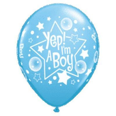 Qualatex Yep I'm a Baby Boy Latex Balloons