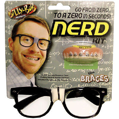 Adult Billy Bob Nerd Kit Halloween Costume Accessory Glasses Teeth Braces Geek