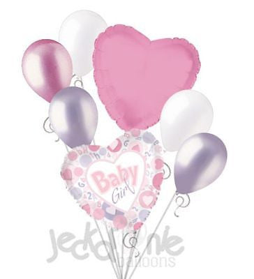 It's a Baby Girl Hearts & Circles Balloon Bouquet