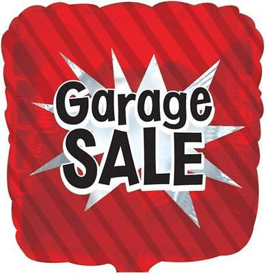 Red Garage Sale Starburst Square Promotional Balloon