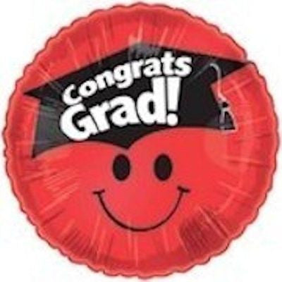 Red Smiley Face Congrats Grad Round Balloon