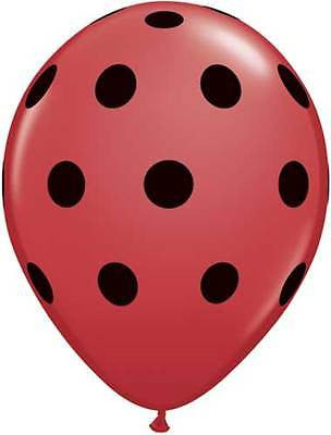 Qualatex Big Polka Dot Red Black Latex Balloons