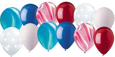 Patriotic Red, White, & Blue Agate, Stars, & Solid Latex Balloons