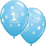 Blue 1st Birthday Boy Circles & Stars Latex Balloons