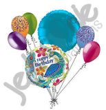 Colorful Peacock Happy Birthday Balloon Bouquet