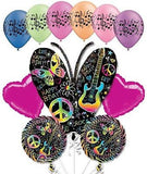 Music Neon Butterfly Happy Birthday Balloon Bouquet