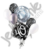 Elegant Happy 40th Birthday Sparkles Balloon Bouquet