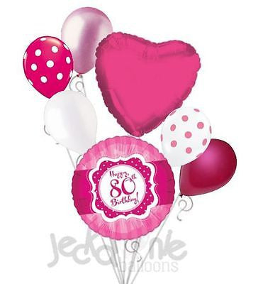 Hot Pink Polka Dots Happy 80th Birthday Balloon Bouquet Jeckaroonie Balloons