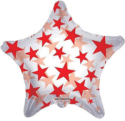 Red Stars on Clear Star Decorator Balloon