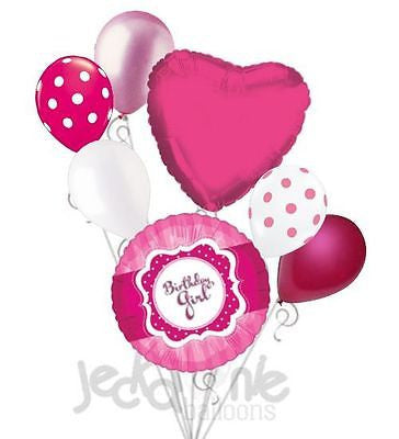 Hot Pink & Polka Dots Birthday Girl Balloon Bouquet