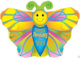Yellow Happy Birthday Butterfly Balloon Bouquet