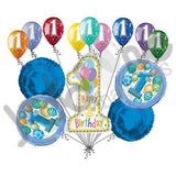 Blue Happy 1st Birthday Balloon Bouquet