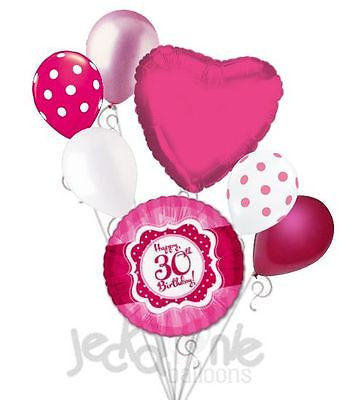 Hot Pink & Polka Dots Happy 30th Birthday Balloon Bouquet