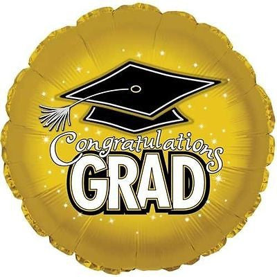Gold Congratulations Grad Round Balloon