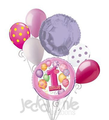 Pink 1st Birthday Balloon Bouquet