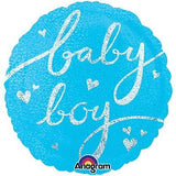 Holographic Blue Baby Boy Balloon Bouquet