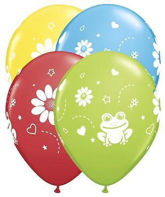 Qualatex Colorful Frogs & Flowers Around Latex Balloons