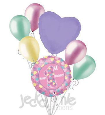 Holographic Hearts Happy 1st Birthday Balloon Bouquet