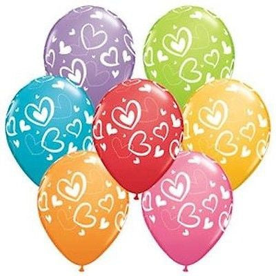 Qualatex Colorful Hearts Around Latex Balloons