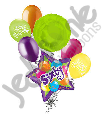 Bright & Bold Sparkling 60th Happy Birthday Balloon Bouquet