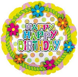 Frosted Cake Top Happy Birthday Flowers Balloon Bouquet