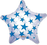 Blue Stars on Clear Star Decorator Balloon