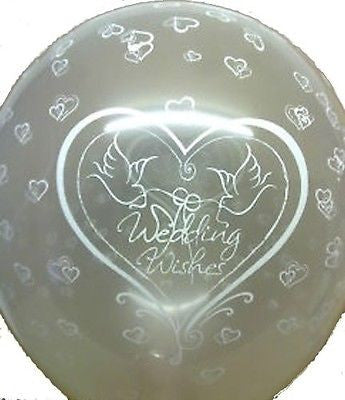 Dove Wedding Wishes on Clear Latex Balloons