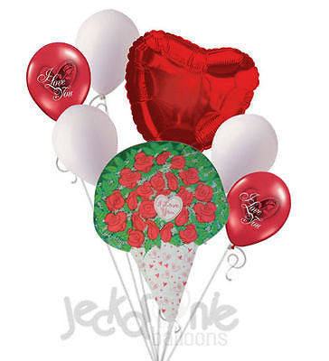 Red Roses I Love You Balloon Bouquet