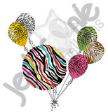 Colorful Wild Zebra Print Balloon Bouquet